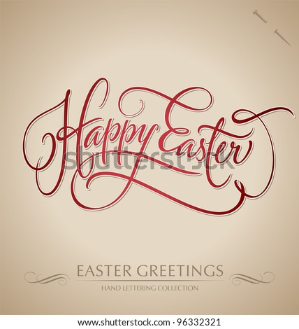 HAPPY EASTER hand lettering - handmade calligraphy; scalable and editable vector illustration (eps8); - stock vector