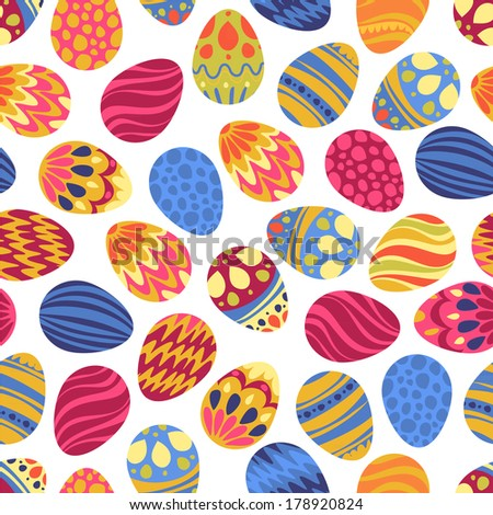 Happy Easter! Happy holiday eggs pattern, seamless background for your greeting card design. Cute decorated easter eggs