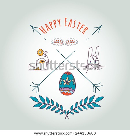 Happy Easter Hipster Greeting Card  elements with Cartoon Rabbit And Eggs. Vector illustration - stock vector