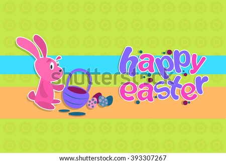 Happy Easter Holiday Rabbit Hold Basket With Colorful Egg Flat Vector Illustration