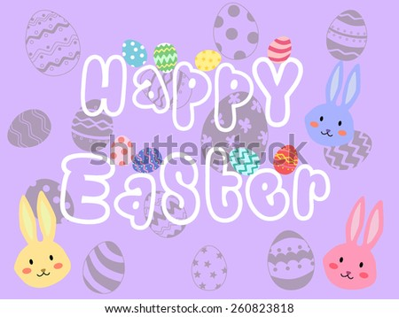 Happy Easter holiday with eggs silhouette and rabbit head in purple background. It can be used as greeting card.