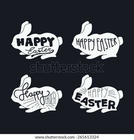 Happy easter icons with easter bunny. Vintage typography illustration. Vector - stock vector
