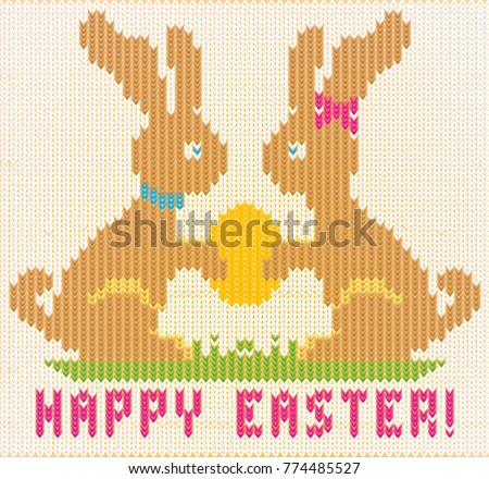 Happy Easter knitted bunny. vector illustration