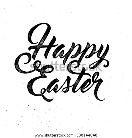 Happy Easter lettering for greeting card. Vector vintage letterpress effect, grunge background. - stock vector