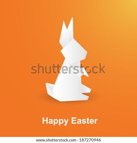 Happy Easter Origami Rabbit Bunny Stock Vector 187270946