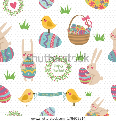 Happy Easter ornaments and decorative elements. Vector seamless pattern - stock vector