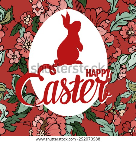 Happy Easter ornate lettering greeting card with floral background. Vintage boho style. - stock vector