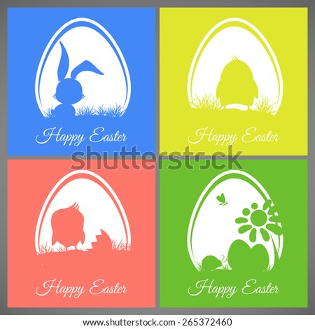 Happy easter pastel colorful vector illustration cards Set meadow with rabbit, chicken, newborn, butterfly, eggs, flower, ladybug silhouettes in egg - stock vector