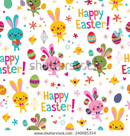 Happy Easter pattern - stock vector