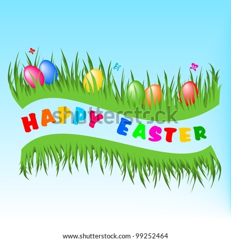 Happy Easter postcard - stock vector