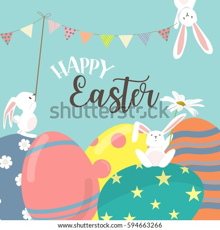 Happy Easter Poster Invitation Card Background Stock ...