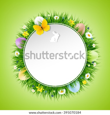 Happy Easter Poster With Gradient Mesh, Vector Illustration - stock vector