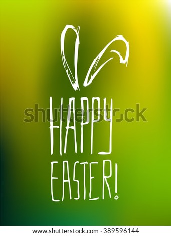 Happy Easter poster with green background - stock vector