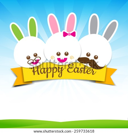 Happy easter rabbit bunny with text on nature background vector illustration - stock vector