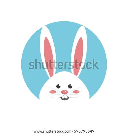 Happy Easter Rabbit Day Icon Stock Vector 595793549 ...