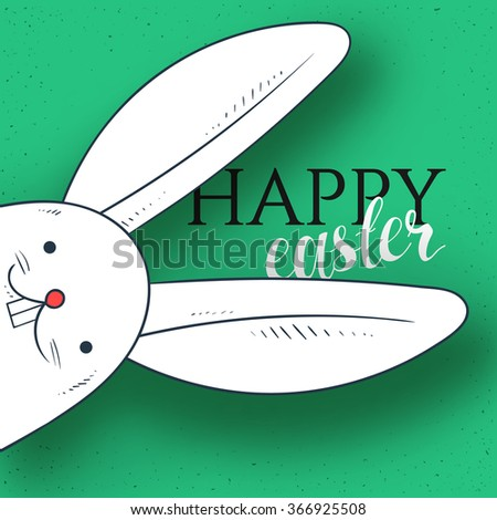 Happy easter. Rabbit looks. Rabbit and greeting calligraphy. Easter bunny and Easter greetings. Bunny and handmade calligraphy - stock vector