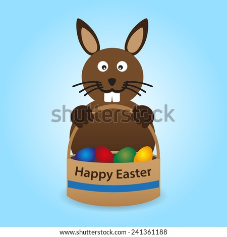 happy easter rabbit with basket full of eggs eps10 - stock vector