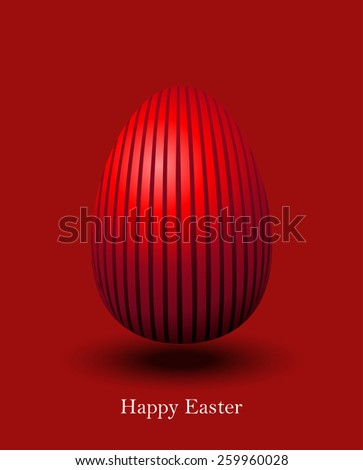Happy Easter Red Egg Card Vector Illustration. - stock vector