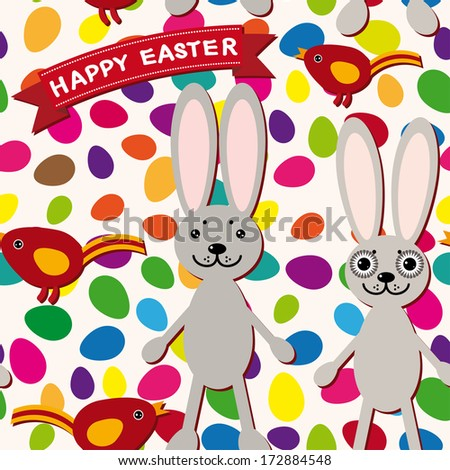 Happy Easter seamless pattern. Rabbit, eggs, bird, ribbon. vector
