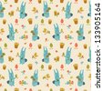 Happy easter seamless pattern. Vector Illustration, eps 10, contains transparencies. - stock photo
