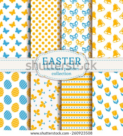 Happy Easter! Set of cute holiday backgrounds. Collection of seamless patterns in white, blue and orange colors. Vector illustration. - stock vector