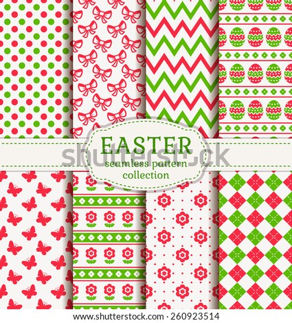 Happy Easter! Set of cute holiday backgrounds. Collection of seamless patterns in white, pink and green colors. Vector illustration. - stock vector