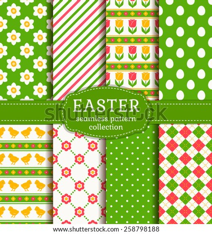 Happy Easter! Set of cute holiday backgrounds. Collection of seamless patterns with traditional symbols. Vector illustration. - stock vector