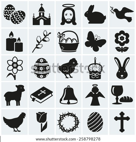 Happy Easter! Set of 25 holidays, religious and concept symbols. Collection of silhouette black elements for your design. Vector illustration.  - stock vector