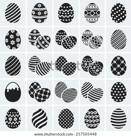 Happy Easter! Set of painted eggs with various patterns. Collection of black icons for the holiday design. Vector illustration.  - stock vector