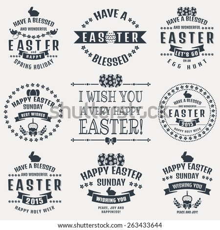 Happy Easter! Set of typography badges isolated on white background. Vector design elements. - stock vector