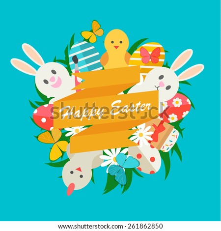 Happy Easter  sign with Easter icons set in flat design style, vector illustration.  With rabbits, eggs, chickens, Easter cake, butterflies, green grass, flowers - stock vector