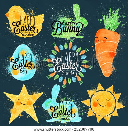 Happy easter symbols painted pastel colored stylized kids style, sun, sun, chicken, egg, rabbit, carrot, star on a dark blue background - stock vector