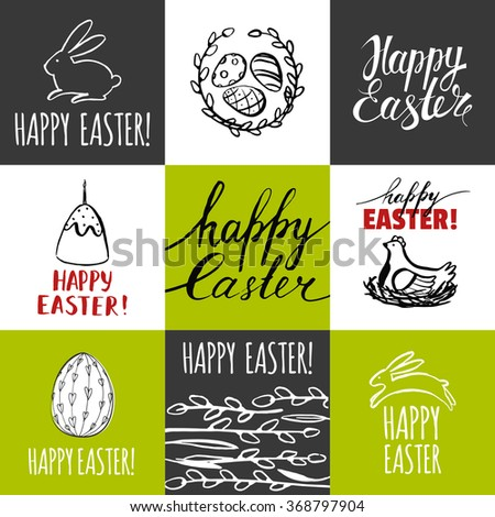 Happy Easter. Template design cards with nest, rabbit, chicken and Easter eggs. Modern calligraphy. Hand drawn inscription and elements. Handwritten ink brush lettering with rough edges. - stock vector