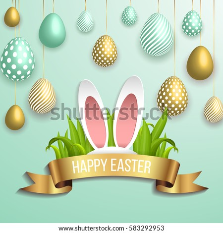 Happy Easter Template Gold Ribbon Eggs Stock Vector