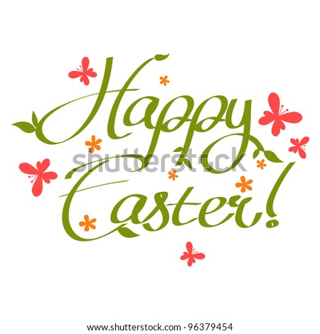 Happy Easter text - stock vector