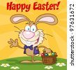 Happy Easter Text Above A Waving Bunny With Easter Eggs And Basket.Jpeg version also available in gallery. - stock vector