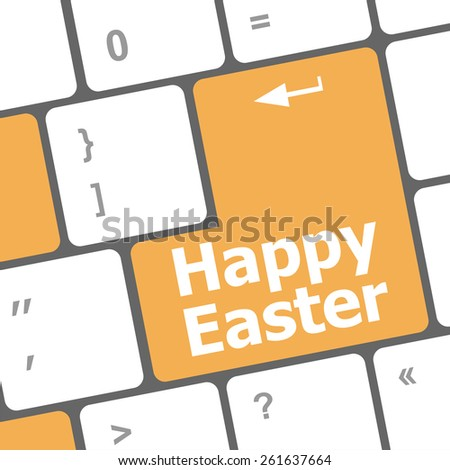 happy easter text button on keyboard keys, vector keyboard - stock vector