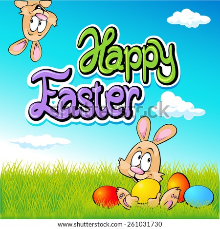 happy easter text- design with bunny, eggs and spring background - stock vector