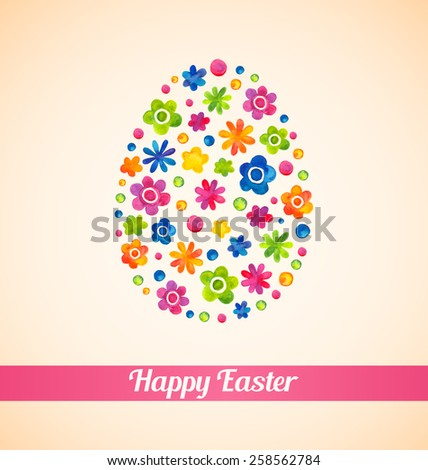 Happy Easter, text. Floral pattern, easter egg. Watercolor. Web and mobile interface template, poster - stock vector