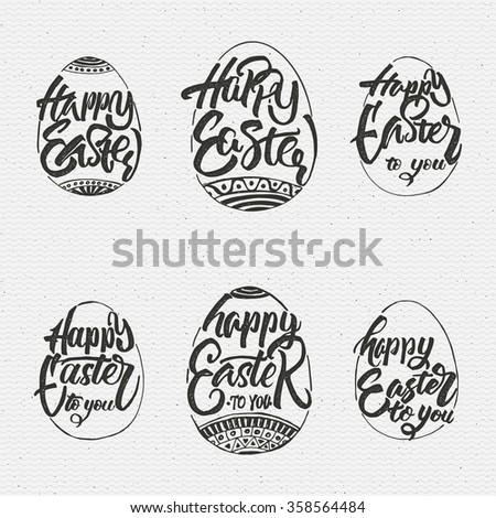 Happy easter - typographic calligraphic lettering - stock vector