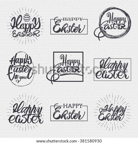 Happy easter - typographic calligraphic lettering, easter  badge, easter label, sticker Easter, Easter print, easter stamp, Easter banner. Calligraphy by lettering tags happy easter - stock vector