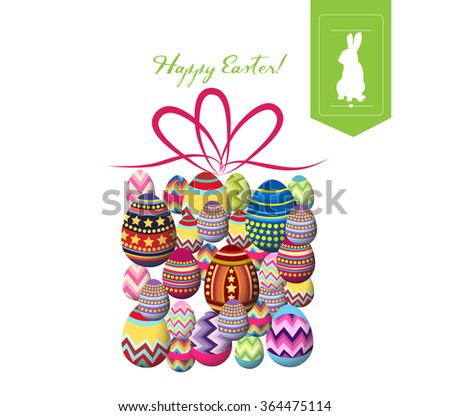 happy easter typographical and gift eggs background - stock vector