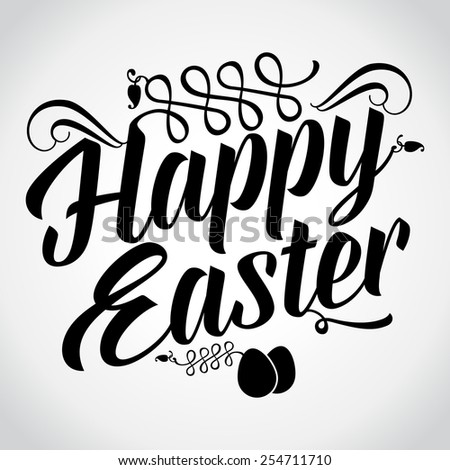 Happy Easter, Typographical Background. Illustration - stock vector