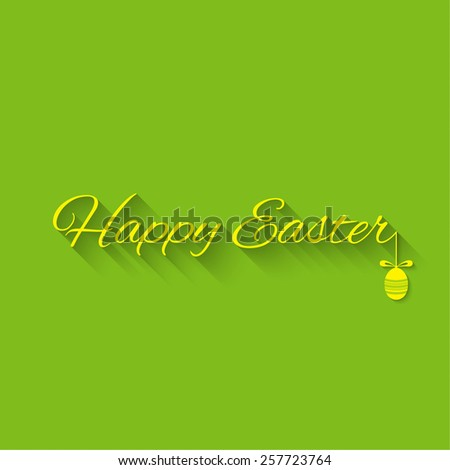 Happy Easter Typographical Background on a green background easter egg with bow. - stock vector