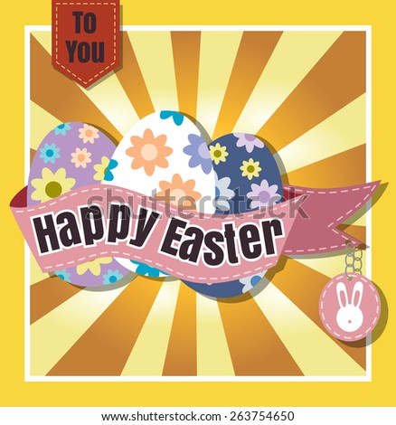 Happy Easter Typographical  Background vector format eps 10 - stock vector