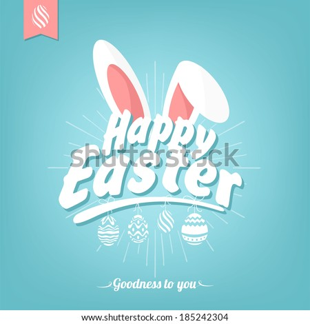 Happy Easter Typographical Background With Bunny - stock vector