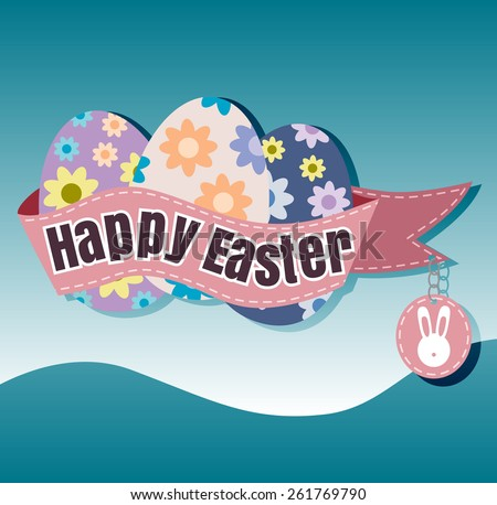 Happy Easter Typographical blur Background vector format eps 10 - stock vector