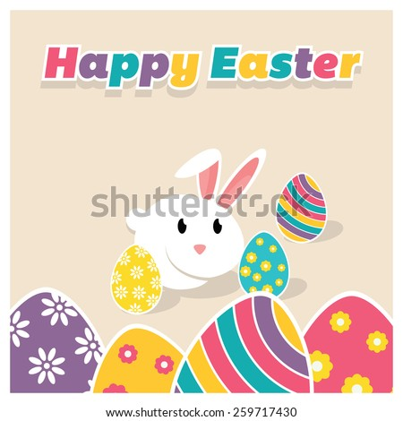 Happy easter typography pink background with Bunny and Easter eggs template card design - stock vector