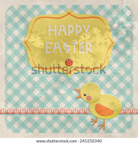 Happy Easter vector greeting card with chicken, frame and text. Vintage old style textured congratulation. - stock vector