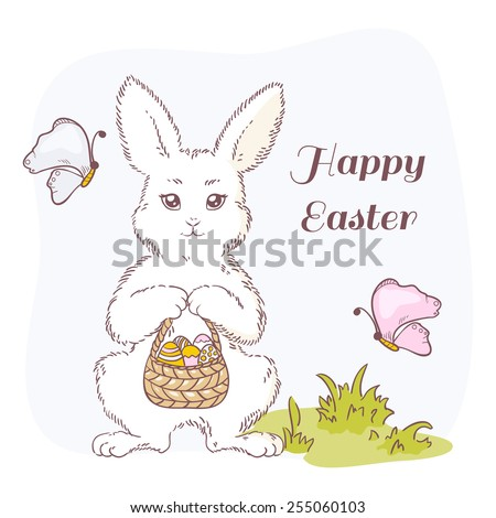 Happy Easter vector illustration. White Easter bunny with basket, eggs and butterflies